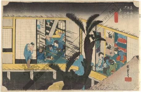 歌川広重: Akasaka: Hostesses at an inn (station 36, print 37) - Austrian Museum of Applied Arts