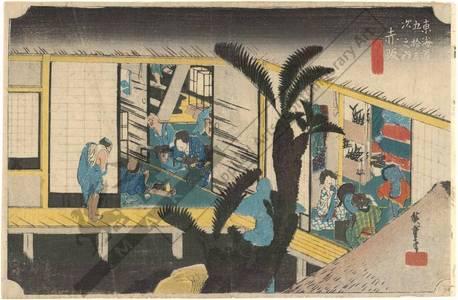 Utagawa Hiroshige: Akasaka: Hostesses at an inn (station 36, print 37) - Austrian Museum of Applied Arts