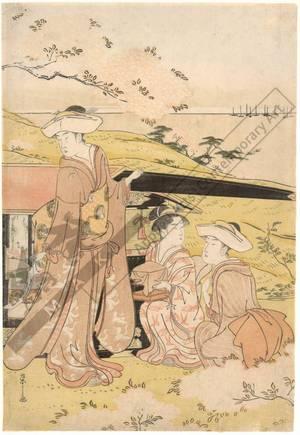 Hosoda Eishi: Viewing cherry blossoms in Gotenyama (title not original) - Austrian Museum of Applied Arts