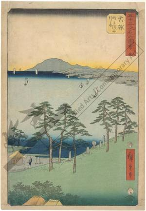 "Utagawa Hiroshige: Print 9: Oiso The hermitage of Saigyo near the ""rising-snipe"" marsh (Station 8) - Austrian Museum of Applied Arts"