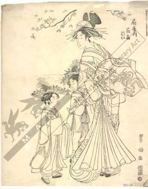 Utagawa Toyokuni I: Courtesan Hanaogi and kamuro Yoshino and Tatsuso from the Ogi house - Austrian Museum of Applied Arts