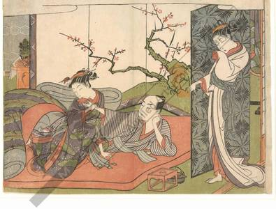 Suzuki Harunobu: Two lovers drinking sake (title not original) - Austrian Museum of Applied Arts