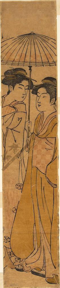 Hosoda Eishi: Women under an umbrella (title not original) - Austrian Museum of Applied Arts
