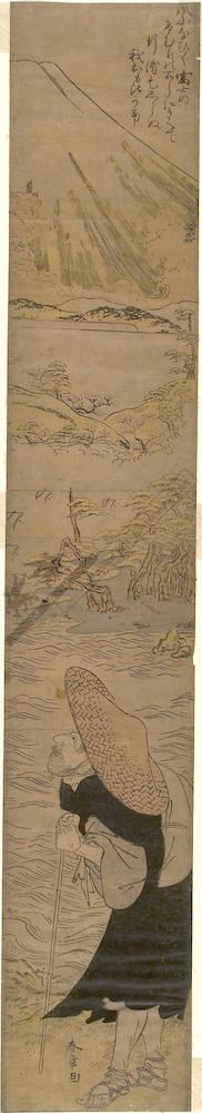 Katsukawa Shunsho: Saigyo viewing Mount Fuji (title not original) - Austrian Museum of Applied Arts