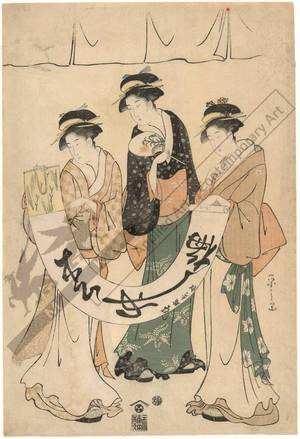 Hosoda Eishi: Three beauties (title not original) - Austrian Museum of Applied Arts