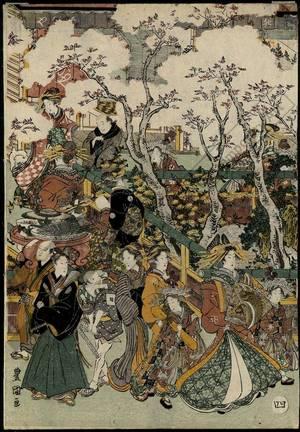 Utagawa Toyokuni I: Scenery with cherry blossoms in New Yoshiwara, Set of five prints - Austrian Museum of Applied Arts
