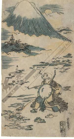 西村重長: Saigyo viewing Mount Fuji (title not original) - Austrian Museum of Applied Arts