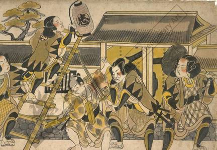 Torii Kiyonobu I: Nightattack of the loyal vassals (title not original) - Austrian Museum of Applied Arts