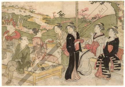 勝川春潮: Viewing cherry blossoms (title not original) - Austrian Museum of Applied Arts