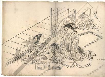 西川祐信: Incense-smelling game (title not original) - Austrian Museum of Applied Arts