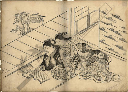 西川祐信: Women reading a book (title not original) - Austrian Museum of Applied Arts