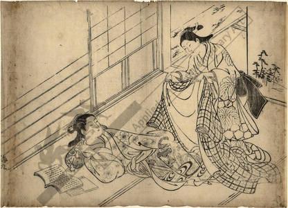 Nishikawa Sukenobu: Young girl covering a woman with a kimono (title not original) - Austrian Museum of Applied Arts