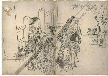 Nishikawa Sukenobu: Women visiting a shrine (title not original) - Austrian Museum of Applied Arts