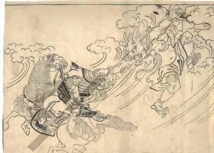 菱川師宣: Raiko in the fight against Shutendoji (title not original) - Austrian Museum of Applied Arts