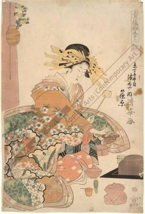 二代目鳥居清満: Courtesan Shinohara from the Tsuru house on Kyo street - Austrian Museum of Applied Arts