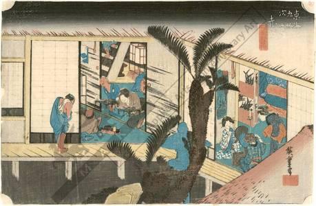 歌川広重: Akasaka: Hostesses at an inn (Station 36, Print 37) - Austrian Museum of Applied Arts