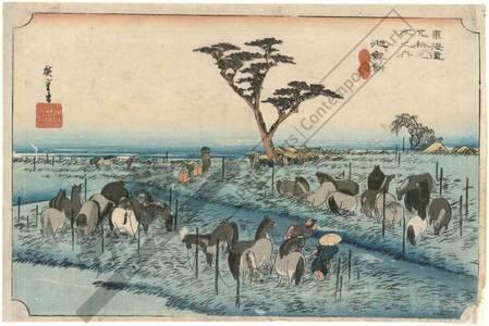 歌川広重: Chiryu: The summer horse fair (station 39, print 40) - Austrian Museum of Applied Arts