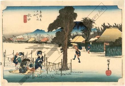 歌川広重: Minakuchi: Famous product: Dried strips of gourd (station 50, print 51) - Austrian Museum of Applied Arts