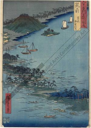 Utagawa Hiroshige: Province of Chikuzen: Road in the Sea, Hakozaki - Austrian Museum of Applied Arts