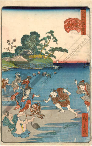 Utagawa Hirokage: Number 12: Gathering shells at Suzaki - Austrian Museum of Applied Arts