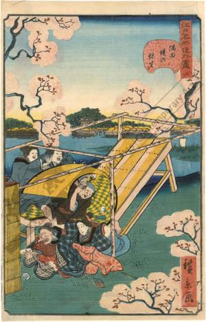 歌川広景: Number 8: March at the Sumida embankment - Austrian Museum of Applied Arts