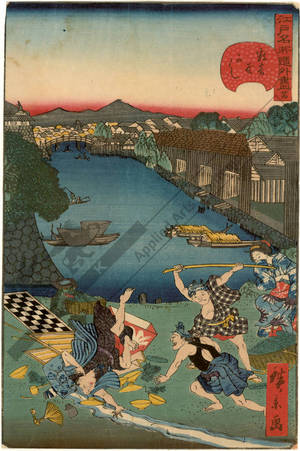 Utagawa Hirokage: Number 24: Sukiya riverbank - Austrian Museum of Applied Arts
