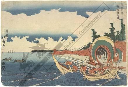 Shotei Hokuju: Fishing-boats hooking Bonito in the Choshi bay in the province of Shimosa - Austrian Museum of Applied Arts