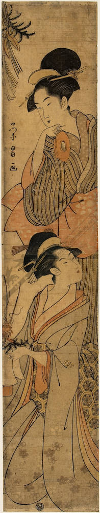 Hosoda Eisho: Beauties at New Year (title not original) - Austrian Museum of Applied Arts