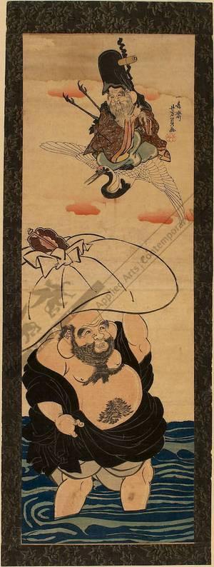 歌川芳員: Fukurokuju and Hotei (title not original) - Austrian Museum of Applied Arts