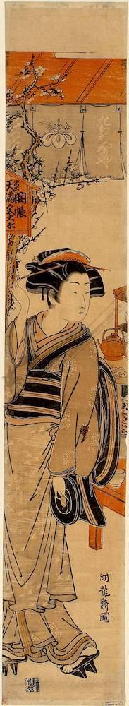 Isoda Koryusai: Teahous girl of the Tachibanaya (title not original) - Austrian Museum of Applied Arts