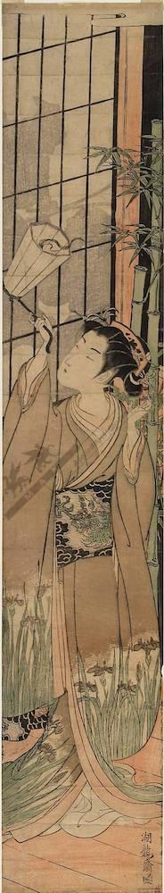 磯田湖龍齋: Courtesan with a lantern (title not original) - Austrian Museum of Applied Arts