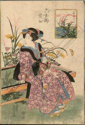 渓斉英泉: Bush clover at the Tama river - Austrian Museum of Applied Arts