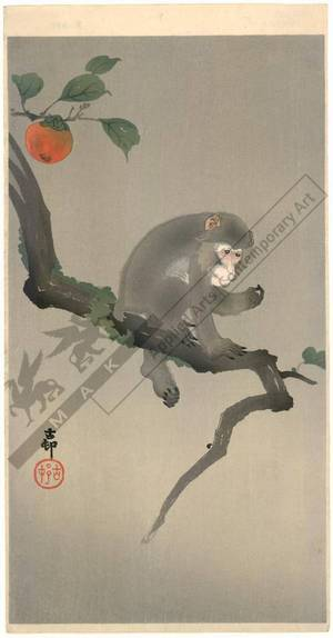 Shoson Ohara: Monkey sitting on a Persimmon tree (title not original) - Austrian Museum of Applied Arts
