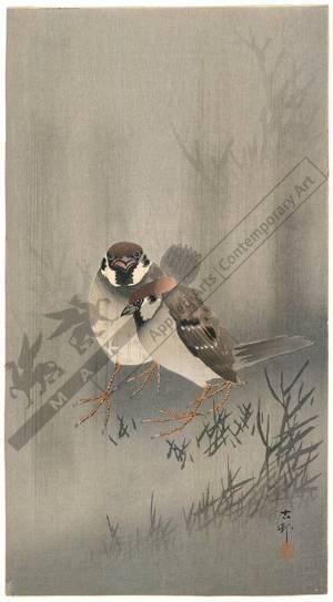 Shoson Ohara: Sparrows in rain shower (title not original) - Austrian Museum of Applied Arts