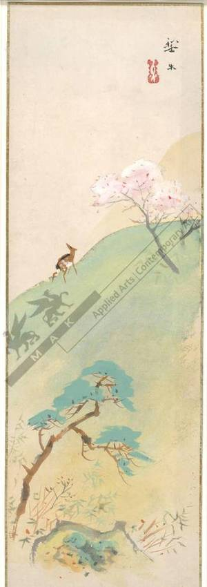 Unknown: Deer and blooming cherry tree (title not original) - Austrian Museum of Applied Arts