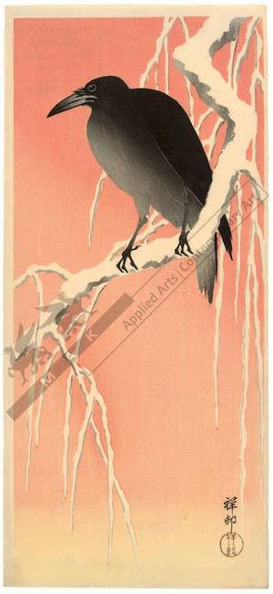 Shoson Ohara: Crow on a snowcovered branch (title not original) - Austrian Museum of Applied Arts