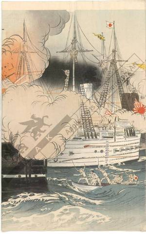 Ogata Gekko: Naval battle while capturing Haiyang Island - Austrian Museum of Applied Arts