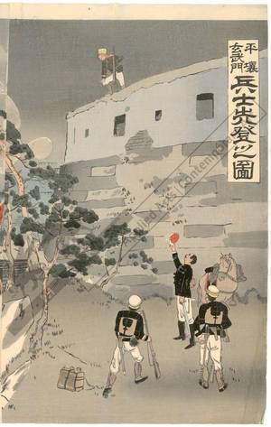 Taguchi Beisaku: First soldiers at the Genbu Gate in Pyöngyang - Austrian Museum of Applied Arts
