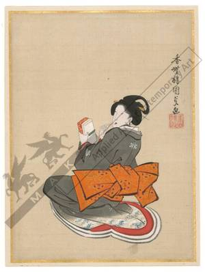 Utagawa Kunisada: Beauty holding a toothstick (title not original) - Austrian Museum of Applied Arts