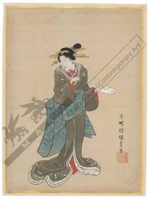Utagawa Kunisada: Standing beauty (title not original) - Austrian Museum of Applied Arts