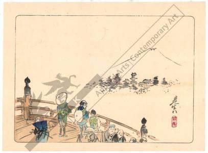 柴田是眞: Viewing the Fuji from Nihon-Bridge (title not original) - Austrian Museum of Applied Arts