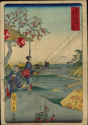 Utagawa Hiroshige: Teahouse with a view of Fuji at Zoshigaya - Austrian Museum of Applied Arts