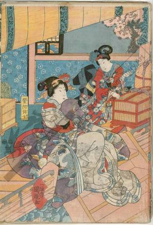 Utagawa Kuniteru: Kudamijo does a good deed in setting her birds free - Austrian Museum of Applied Arts