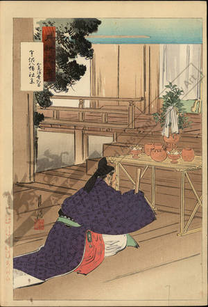 Ogata Gekko: The nobleman Wake no Kiyomaro visiting the Usa Hachiman Shrine - Austrian Museum of Applied Arts