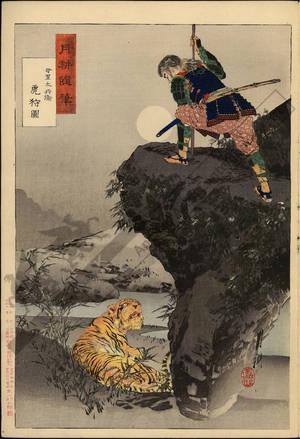 尾形月耕: Mari Tahei hunting tigers - Austrian Museum of Applied Arts