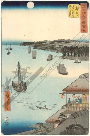 Utagawa Hiroshige: Print 4: Kanagawa, View over the sea from the veranda of the teahouse (Station 3) - Austrian Museum of Applied Arts