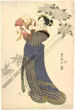 Utagawa Toyokuni I: Woman and child (title not original) - Austrian Museum of Applied Arts