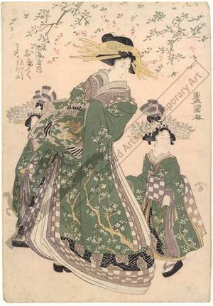 Utagawa Toyokuni I: Courtesan Okiku and kamuro Enoharu and Matsuyama from the Marumi house - Austrian Museum of Applied Arts