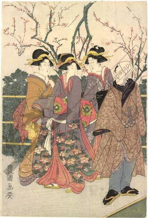 Utagawa Toyokuni I: Second month: The plum-blossom garden - Austrian Museum of Applied Arts