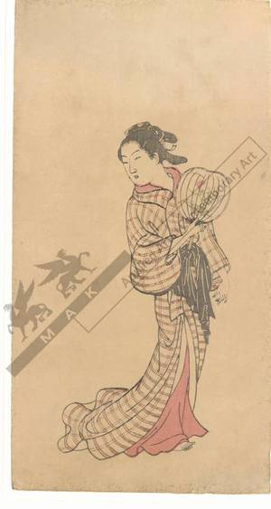 Nishikawa Sukenobu: Woman with a fan (title not original) - Austrian Museum of Applied Arts
